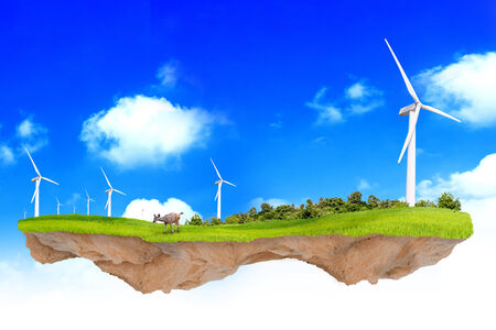 Fantasy ecology concept foating windmill in the sky