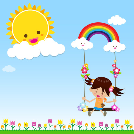 Smile girl playing the swing under a sun and rainbow with white cloud, blue sky Vector