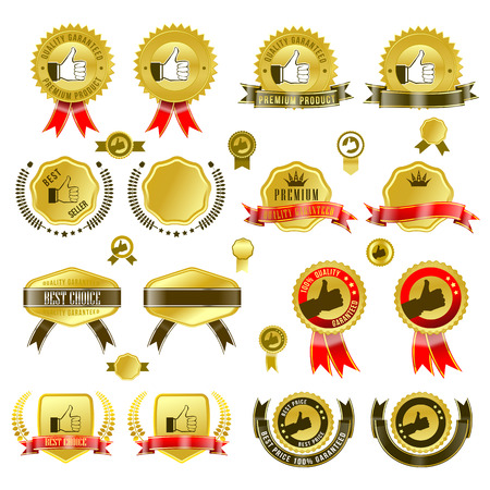 Set of gold badges with ribbon and stickers
