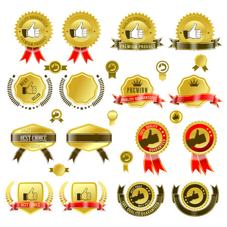 gold medal: Set of gold badges with ribbon and stickers illustration,
