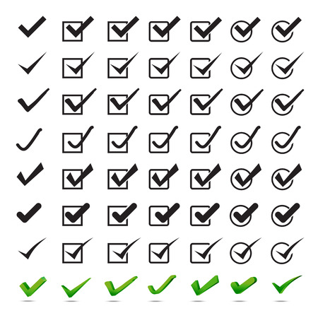 Set of green grossy and black flat check mark, vector illustration