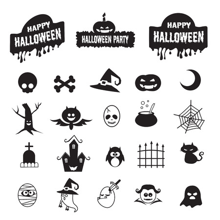 Set of basic halloween icon vector illustration isolated on white background Vector