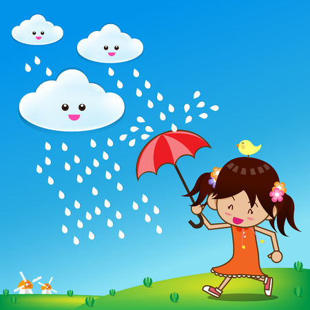 Little girl with umbrella in the rain vector illustration Vector
