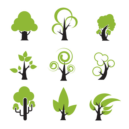 nature  plant: Set of tree icon nature plant symbol vector illustration