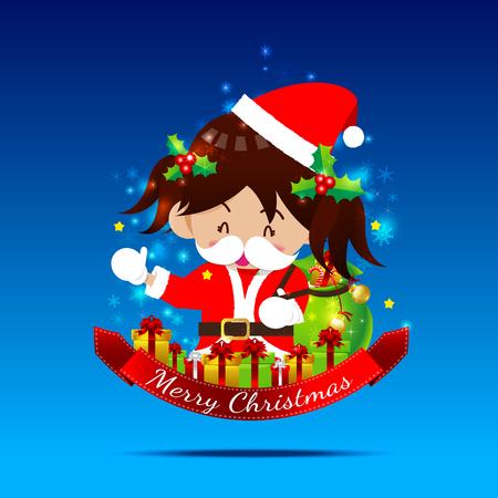 santa suit: Christmas cartoon Little Girl with Santa Suit and giftbox on the dark blue background vector illustration Illustration