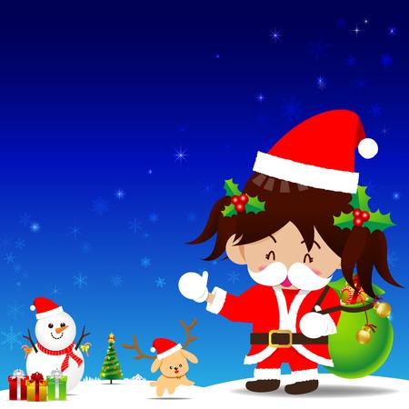 santa suit: Christmas cartoon Little Girl with Santa Suit and snow man giftbox on the dark blue background vector illustration Illustration