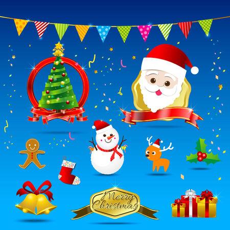 christmas cookie: Christmas element santa cristmas tree flag ribbon bell cookie sock gift box vector illustration