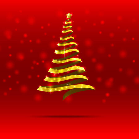 blink: Gold ribbon christmas tree with blink star on the blue background