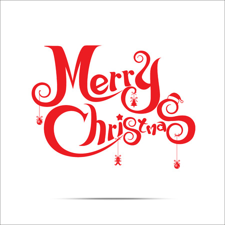 christmas holiday: Merry Christmas text free hand design isolated on white background Illustration