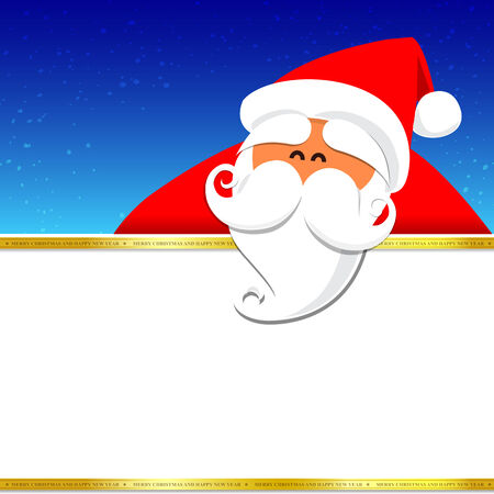 Christmas santa with blank space on the night background, vector illustration Vector