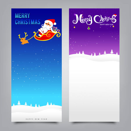 Merry Christmas santa banner collection for greeting card, vector illustration Illustration