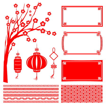 traditional chinese: Chinese happy new year red boarder frame tree flower lantern and decoration design element vector illustration