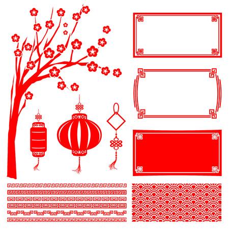 new Year: Cinese felice anno nuovo telaio boarder rosso fiore albero lanterna e decorazione illustrazione vettoriale elemento Vettoriali