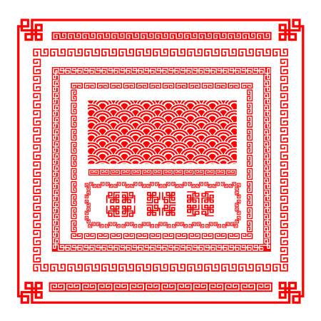 traditional: 装飾デザイン要素ベクトル図の中国新年赤い境界線  イラスト・ベクター素材