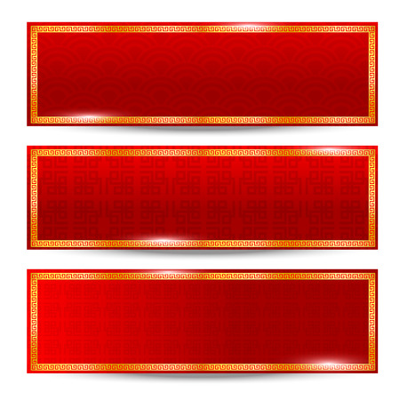 Abstract chinese red background and gold border isolated on the white background vector illustration