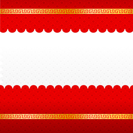 Abstract chinese red background and gold border blank template isolated on the white background vector illustration Ilustração