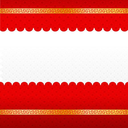 Abstracte Chinese rode achtergrond en gouden grens blanco sjabloon die op de witte achtergrond vector illustratie