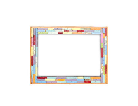 Colorful vintage wood frame with blank white board isolated on the white background