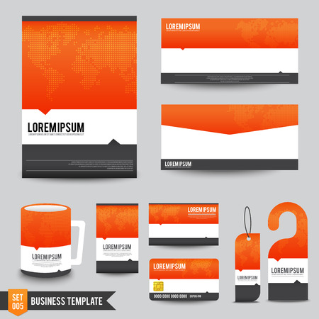 namecard: Template of brochure mug and namecard vector illustration