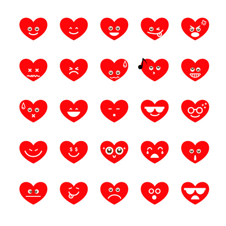 Collection of different emoji heart faces isolated on the white background