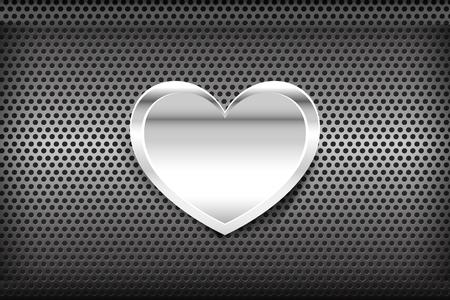 grey background texture: Heart on Chrome black and grey background texture