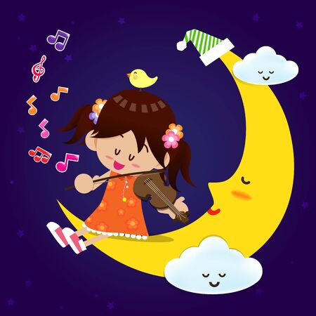 Smile cute girl play the music with violin on the sleeping moon and cloud at night Vector