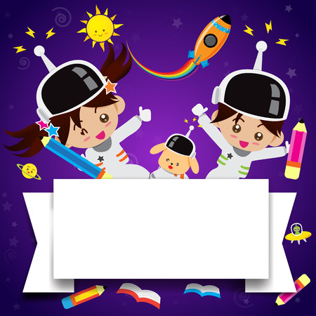 Boy and girl cartoon on the galaxy space vector illustration