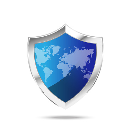 World map protection metal shield  on the white backgroundvector illustration