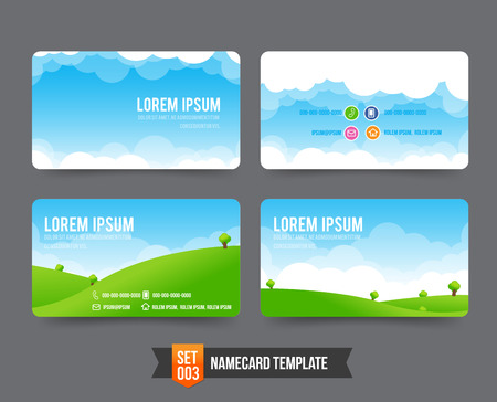 Nature sky cloud field concept business card template vector illustration 일러스트