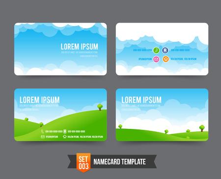 Nature sky cloud field concept business card template vector illustration Stock Illustratie