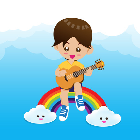 boy playing guitar: Cute Little boy child playing a music guitar on rainbow with happiness vector illustration