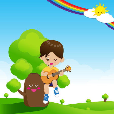 boy playing guitar: Cute Little boy child playing a music guitar on tree with happiness vector illustration