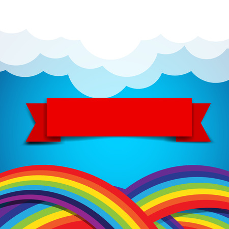 clound: Red ribbon banner on rainbow clound and sky background vector illustration