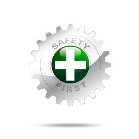 safety gear: Safety first symbol on gear icon vector illustration Illustration