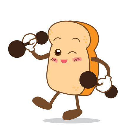 smile face: Isolated happy smile Slice of bread cartoon vector illistration