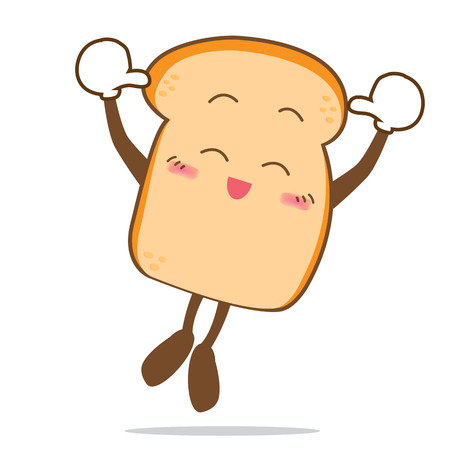 Isolated happy smile jumping Slice of bread cartoon vector illistration