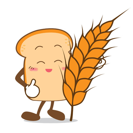Isolated happy smile  Slice of bread cartoon and wheat vector illistration