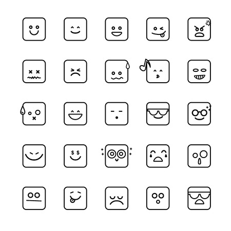 Collection of different emoji line faces isolated on the white background