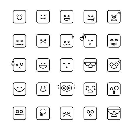 Verzameling van verschillende Emoji lijn gezichten geïsoleerd op de witte achtergrond