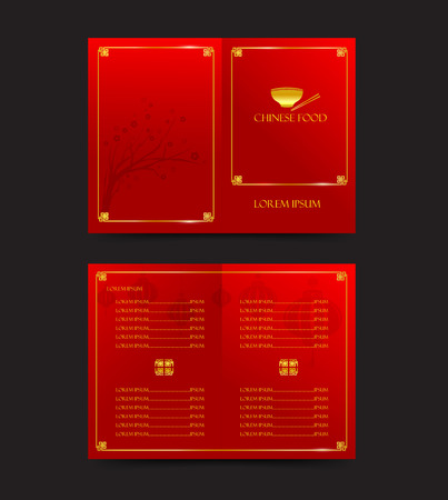 Chinese red meny template for oriental food vector illustration 일러스트
