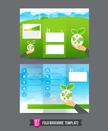 eco concept Fold brochure template vector illustration