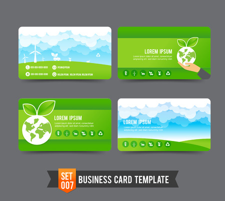 Eco concept  business card template vector illustration