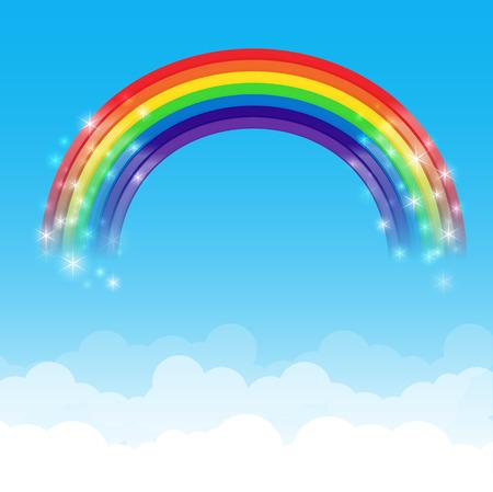 Rainbow cloud and blue sky background vector illustration Ilustração