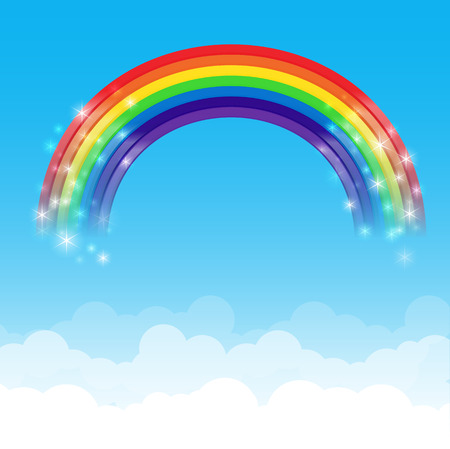 Rainbow wolk en blauwe hemel achtergrond vector illustratie