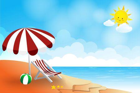 sun sky: Beach landscape sea sun sky and cloud summer abstract background vector illustration