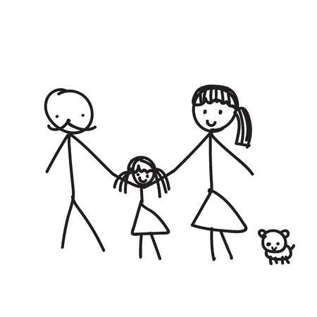 family pet: Hand line drawing of a family parents father mother children pet vector illustration