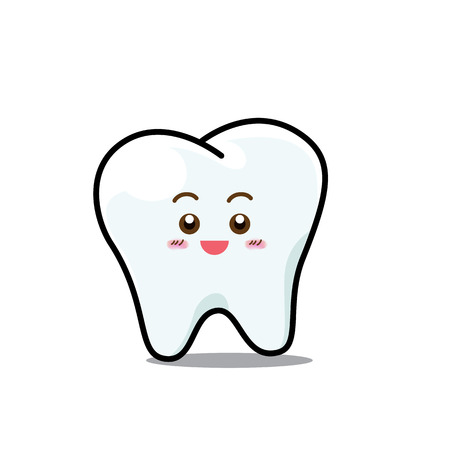 Happy Dental Smile Tooth Mascot Cartoon Character isolated on white backgroun vector illustration