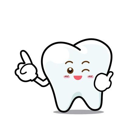 Gelukkig Dental Smile Tooth mascotte Cartoon karakter op een witte backgroun vector illustratie