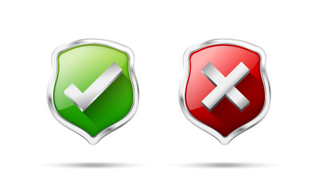 Right accept and wrong symbol protection shiled on the white background vector illustration
