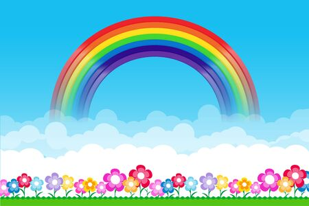 rainbow sky: Rainbow on Nature background with green grass and flowers and blue sky, vector illustration Illustration